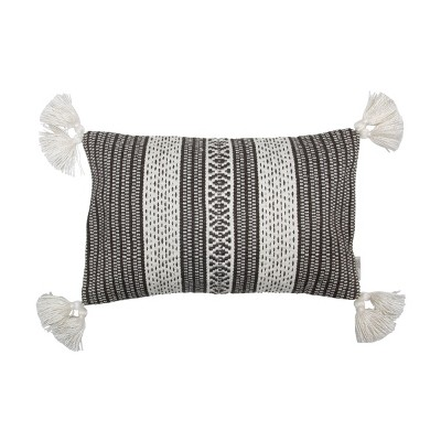 black and white hand woven 14 x 22 inch outdoor decorative throw pillow cover with insert and hand tied tassels foreside home garden