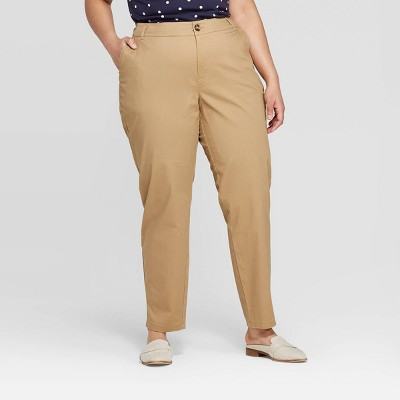 Women's Plus Size Slim Fit Chino Pants - Ava & Viv™