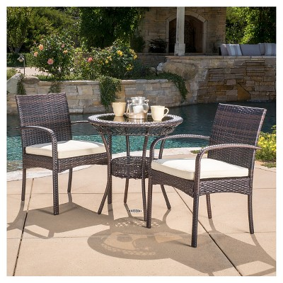 ridley 3 piece wicker patio bistro set with cushions brown christopher knight home