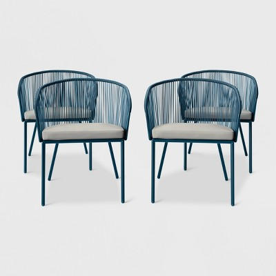 fisher 4pk patio dining chair blue project 62