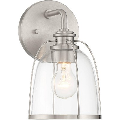 possini euro design modern industrial wall sconce lighting nickel hardwired 10 3 4 high fixture clear glass for bedroom bathroom