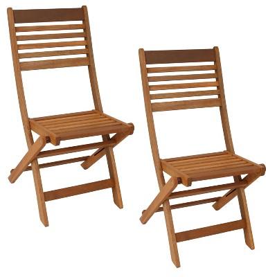 sunnydaze outdoor meranti wood with teak oil finish wooden folding patio bistro chairs set brown 2pk