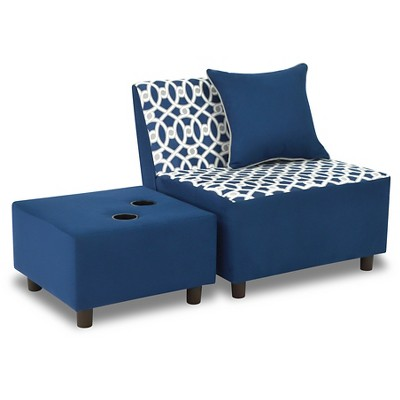 Tween Chair With Pillow And Ottoman With 2 Cupholders - Loopy Navy With Pebbles Gray & White - Kangaroo Trading Co.