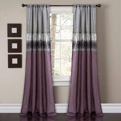 95 x42 night sky light filtering window curtain panel purple gray lush decor