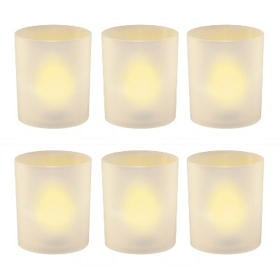 6ct Battery Operated Flickering LED Amber Lights In Frosted Holders With Timer White - Lumabase
