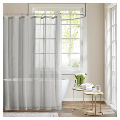 angie sheer shower curtain gray