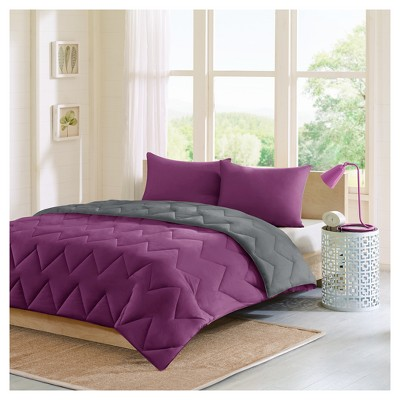 Purple/Charcoal Penny Reversible Comforter Mini Set King 3pc  Jome