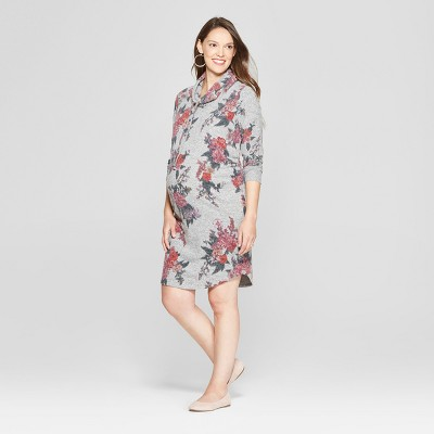 Maternity Floral Print Cowl Neck Sweatshirt Dress - Isabel Maternity by Ingrid & Isabel™ Heather Gray