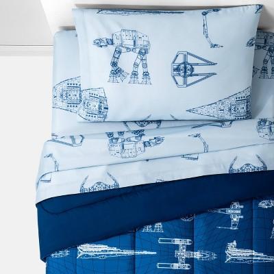 Star Wars Vehicle Schematics Bedding Set Blue