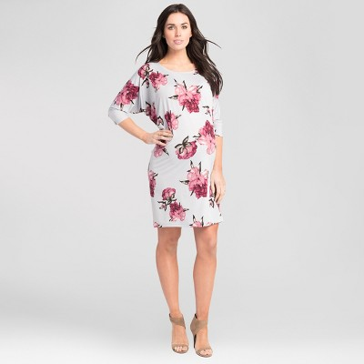 Maternity Floral Print Batwing Dress - Expected by Lilac - Silver