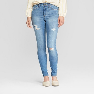 Women's High-Rise Distressed Skinny Jeans - Universal Thread™ Medium Wash