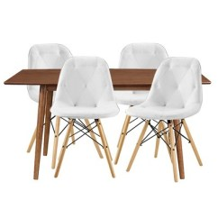 Eames Chair White Video Games 5pc Mid Century Dining Group With 4 Tufted Chairs Acron Saracina Home