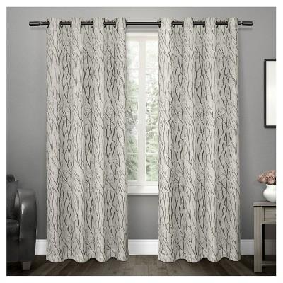 Oakdale Textured Linen Motif Grommet Top Window Curtain Panel Pair Exclusive Home