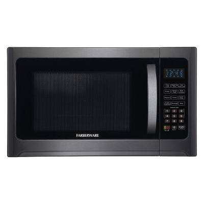 farberware 1 2 cu ft 1100 watt microwave oven with grill function black stainless steel fmo12ahtbsg