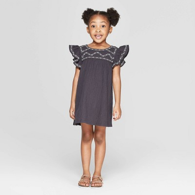 Toddler Girls' Ruffle Sleeve Shift Dress - art class™ Black