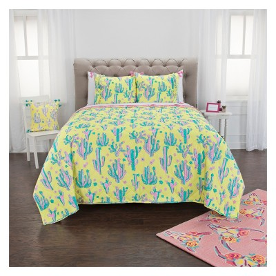 Cow Skull/Cactus Quilt Set Yellow - Simply Southern