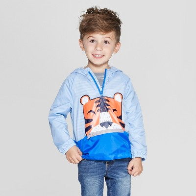 Toddler Boys' Long Sleeve Packable Tiger Windbreaker Jacket - Cat & Jack™ Blue