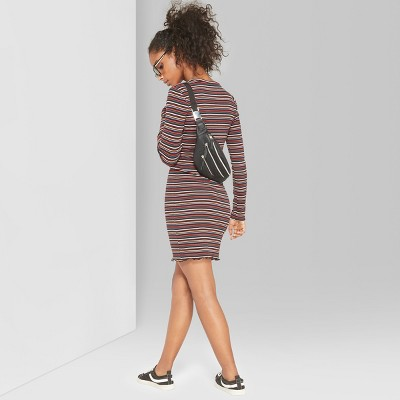 Women's Striped Long Sleeve Ribbed Knit Dress - Wild Fable™ Pink