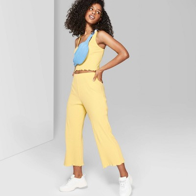 Women's High-Waist Rib-Knit Pants - Wild Fable™ Yellow