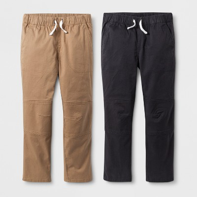 Boys' 2pk Pull-On Pants - Cat & Jack™ Charcoal Gray/Brown