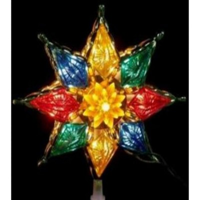 """PENN 8"""" Lighted Multi-Color Crystal 8-Point Star Christmas Tree Topper - Clear Lights"""