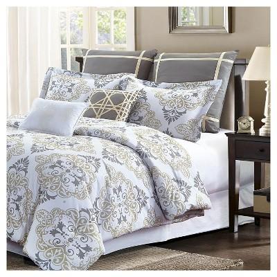 Taupe Suri Damask Print Comforter Set 7 Piece - Style Quarters®