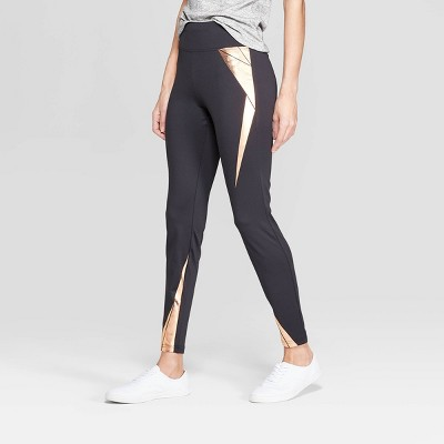 Women's Wide Waistband with Rose Gold Foil Leggings - Xhilaration™ Black