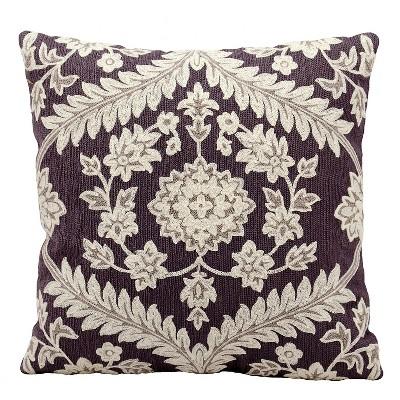"Ivory/Plum Dynasty Throw Pillow (18""x18"") - Nourison"