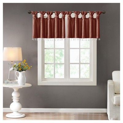 "Lillian Twisted Tab Valance With Beads (50x26"")"