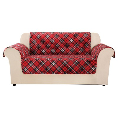 target sofa loveseat covers how to dispose of old red furniture flair tartan plaid cover sure fit