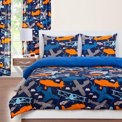 Take Flight Reversible Comforter With Sham Blue - Crayola