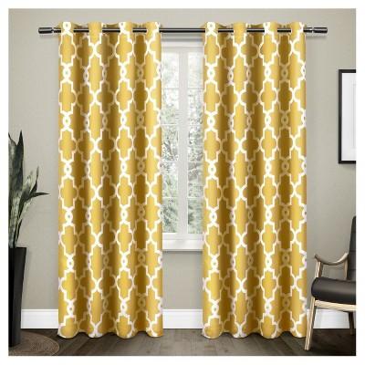 set of 2 96 x52 ironwork sateen woven room darkening window curtain panel yellow exclusive home