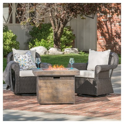 avondale 3pc all weather wicker patio chair set w fire pit dark brown christopher knight home