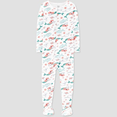 Toddler Girls' Sea Creature Printed Footed Sleepers - Just One You® made by carter's White