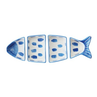4pc Stoneware Fish Shaped Serving Bowl Set Blue/White - 3R Studios