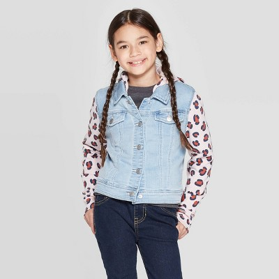 Girls' Animal Fleece Sleeve Jacket - Cat & Jack™ Light Wash
