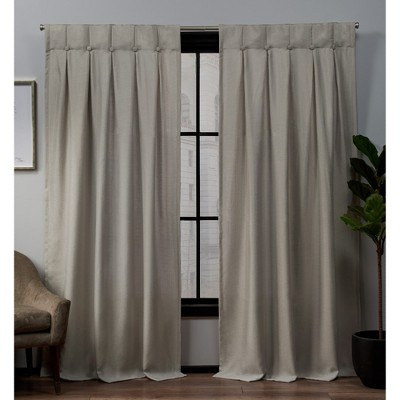 Loha Linen Button Top Window Curtain Panel Pair -Exclusive Home