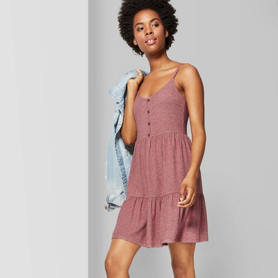 Women's Strappy Scoop Neck Button-Front Tiered Knit Swing Dress - Wild Fable™