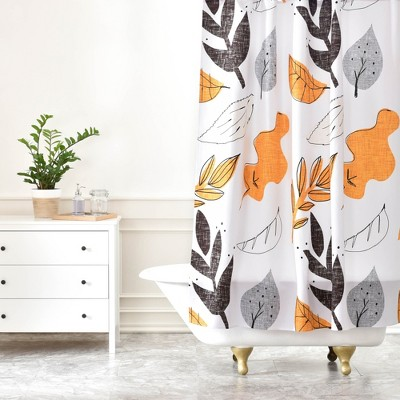 fall leaves shower curtain white deny designs