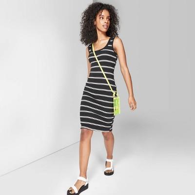 Women's Striped U-Neck Knit Tank Dress - Wild Fable™ Black/White