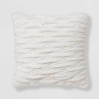 euro rouched faux fur throw pillow cream threshold
