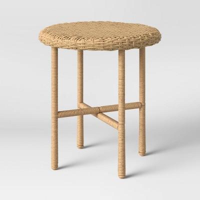 tucker wicker patio accent table threshold designed with studio mcgee