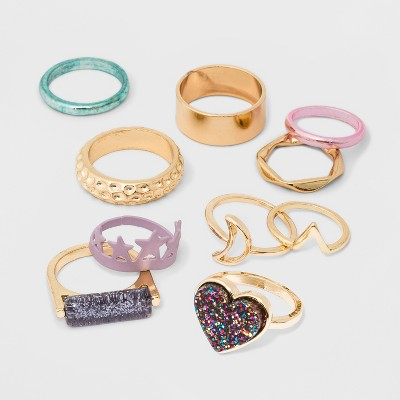 Mixed Star, Heart and Band Ring Set 10pc - Wild Fable™