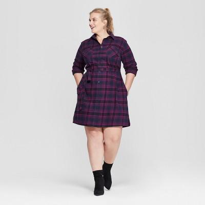 Women's Plus Size Plaid Flannel Shirt Dress - Ava & Viv™ Navy