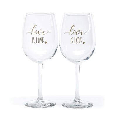 Hortense B. Hetwitt 2ct 'Love is Love' Wine Glasses White