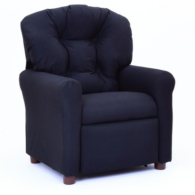 kids tv chair makeup vanity with back traditional reclining rich black microfiber crew furniture target