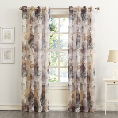 No. 918 Andorra Floral Print Crushed Voile Grommet Curtain Panel