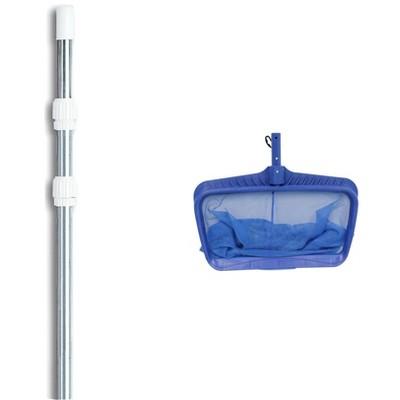 Swimline Hydrotools 8040 Swimming Pool Deep Bag Leaf Rake Net W/ 4-12' Telescopic Pole