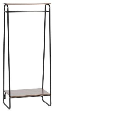 iris dual shelf garment rack black