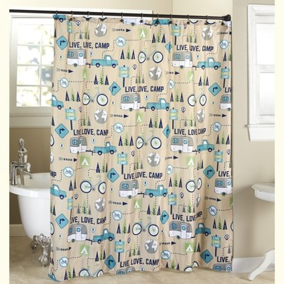 lakeside live love camp bathroom shower curtain with 12 hole grommet top